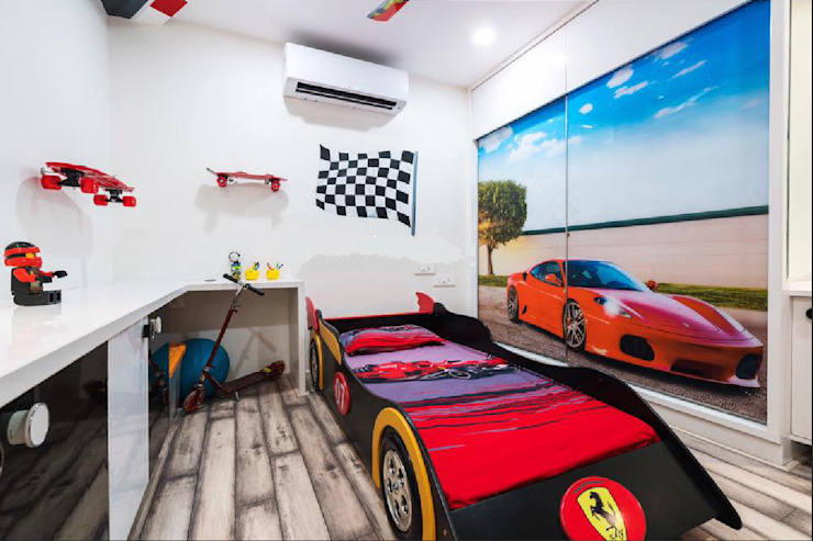 Kids bedroom with car theme by Rhythm And Emphasis Design Studio