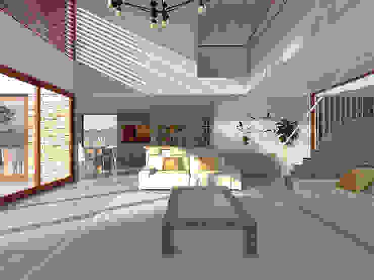 Vivienda La Chimba Livings de estilo mediterráneo de Uno Arquitectura Mediterráneo Concreto