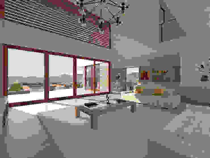 Vivienda La Chimba Uno Arquitectura Livings de estilo mediterráneo Concreto Blanco