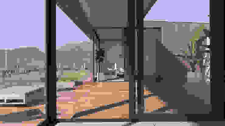 Vivienda Los Choros Pasillos, halls y escaleras rústicos de Uno Arquitectura Rústico Madera Acabado en madera
