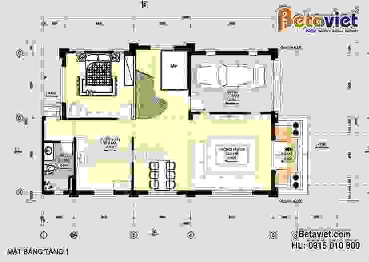 Mặt bằng tầng 1 mẫu biệt thự đẹp 3 tầng Tân cổ điển BT16011 bởi Công Ty CP Kiến Trúc và Xây Dựng Betaviet