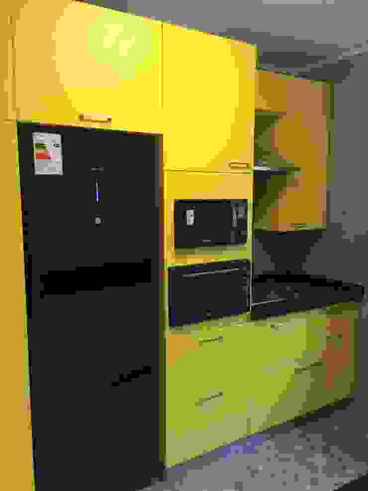 Mural muebles cocina PICHARA + RIOS arquitectos Muebles de cocinas Derivados de madera Amarillo
