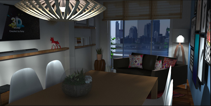 Modern Living and Dining room Modern Living Room by SilviaKarounos Decor Studio Modern