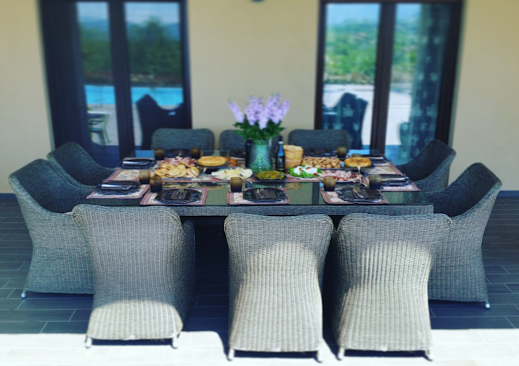 Tavolo da giardino dieci posti in fibra sintetica tonda Uluwatu di Uniko Moderno Sintetico Marrone