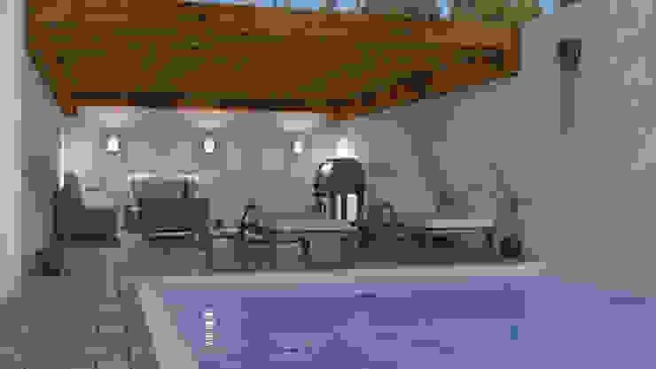 Jardin posterior con Alberca Balcones y terrazas minimalistas de homify Minimalista