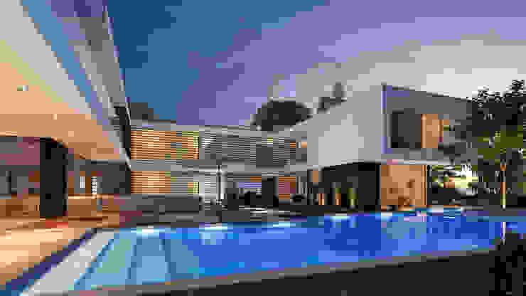 CASA MS1 - Moradia no Belas Clube de Campo - Projeto de Arquitetura - piscina por Traçado Regulador. Lda Moderno Pedra