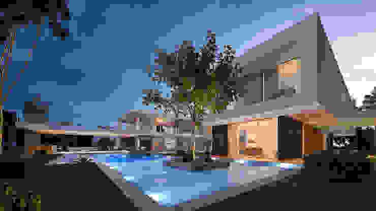 CASA MS1 - Moradia no Belas Clube de Campo - Projeto de Arquitetura - piscina e lago por Traçado Regulador. Lda Moderno Pedra