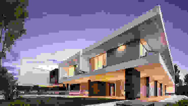CASA MS1 - Moradia no Belas Clube de Campo - Projeto de Arquitetura - exterior por Traçado Regulador. Lda Moderno Pedra