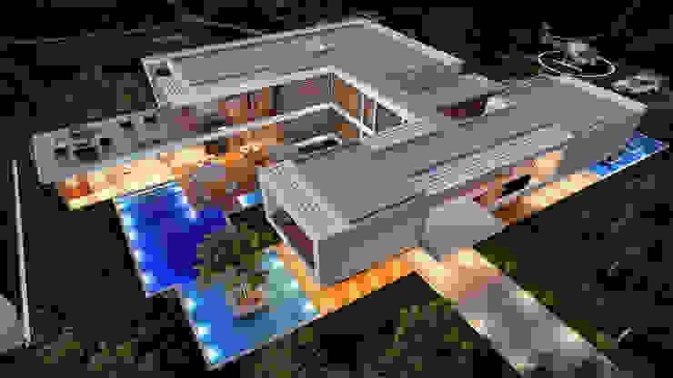 CASA MS1 - Moradia no Belas Clube de Campo - Projeto de Arquitetura - vista aerea por Traçado Regulador. Lda Moderno Pedra
