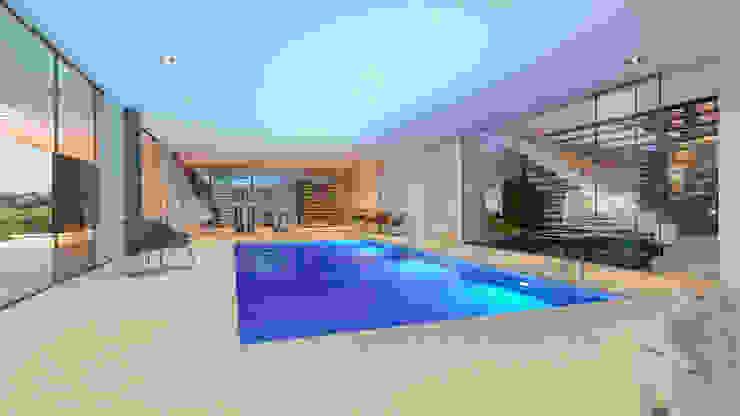 CASA MS1 - Moradia no Belas Clube de Campo - Projeto de Arquitetura - piscina interior Piscinas modernas por Traçado Regulador. Lda Moderno