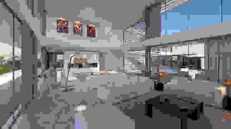 CASA MS1 - Moradia no Belas Clube de Campo - Projeto de Arquitetura - sala Salas de estar modernas por Traçado Regulador. Lda Moderno Pedra