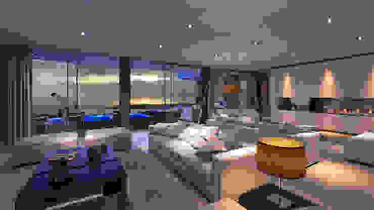 CASA JA1 - Moradia no Estoril - Projeto de Arquitetura - sala Salas de estar modernas por Traçado Regulador. Lda Moderno Pedra