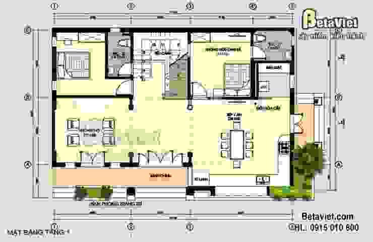 Mặt bằng tầng 1 mẫu nhà biệt thự đẹp 2,5 tầng Hiện đại (CĐT: Ông Đông – Hải Phòng) BT14454 bởi Công Ty CP Kiến Trúc và Xây Dựng Betaviet