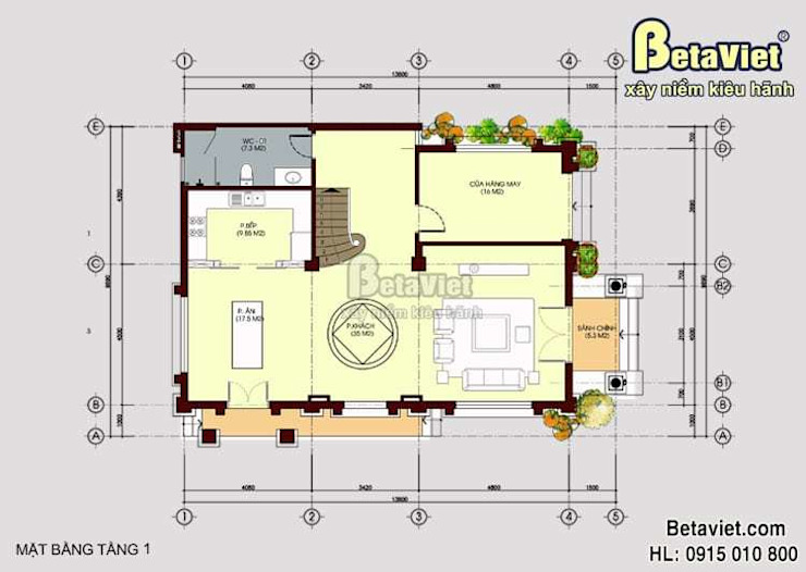 Mặt bằng tầng 1 mẫu biệt thự đẹp 3 tầng cổ điển BT15060 bởi Công Ty CP Kiến Trúc và Xây Dựng Betaviet