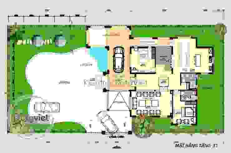 Mặt bằng tầng 1 thiết kế biệt thự nhà vườn 2 tầng Hiện đại KT16082 bởi Công Ty CP Kiến Trúc và Xây Dựng Betaviet