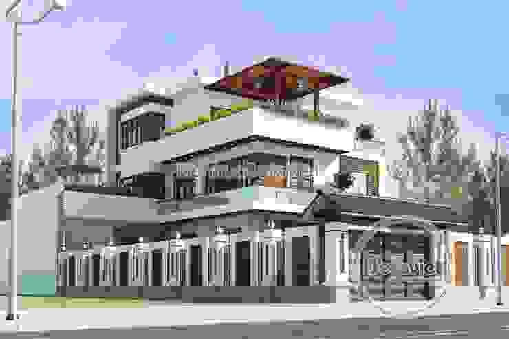 Phối cảnh thiết kế biệt thự đẹp 3 tầng Hiện đại có bể bơi KT16108 bởi Công Ty CP Kiến Trúc và Xây Dựng Betaviet