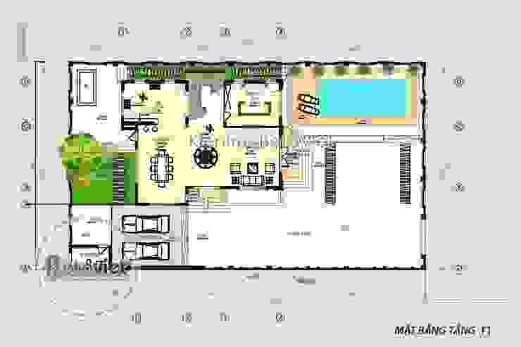 Mặt bằng tầng 1 thiết kế biệt thự đẹp 3 tầng Hiện đại có bể bơi KT16108 bởi Công Ty CP Kiến Trúc và Xây Dựng Betaviet