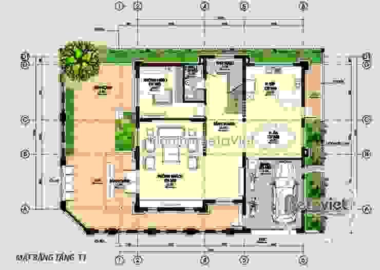 Mặt bằng tầng 1 mẫu thiết kế biệt thự 3 tầng Tân cổ điển KT16112 bởi Công Ty CP Kiến Trúc và Xây Dựng Betaviet