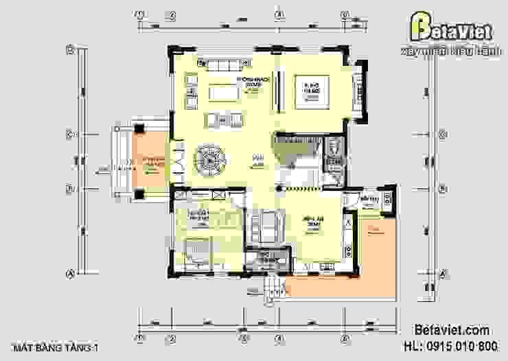 Mặt bằng tầng 1 mẫu biệt thự nhà đẹp 3 tầng Cổ điển BT14526 bởi Công Ty CP Kiến Trúc và Xây Dựng Betaviet