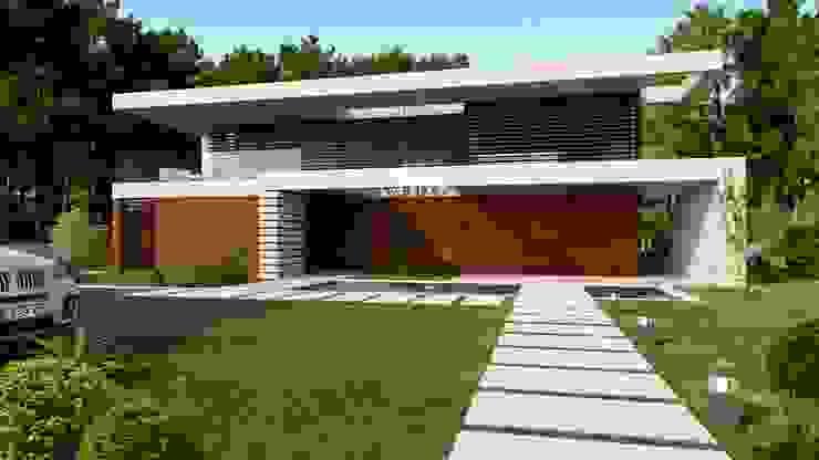 CASA SG1 - Moradia na Herdade da Aroeira - Projeto de Arquitetura - entrada por Traçado Regulador. Lda Moderno Madeira Acabamento em madeira