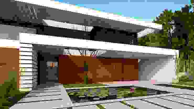 CASA SG1 - Moradia na Herdade da Aroeira - Projeto de Arquitetura - entrada lago por Traçado Regulador. Lda Moderno Madeira Acabamento em madeira