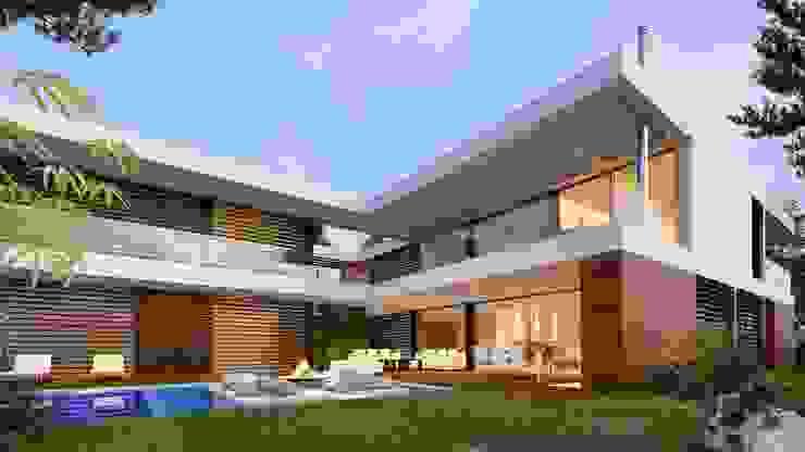 CASA SG1 - Moradia na Herdade da Aroeira - Projeto de Arquitetura - exterior piscina por Traçado Regulador. Lda Moderno Madeira Acabamento em madeira
