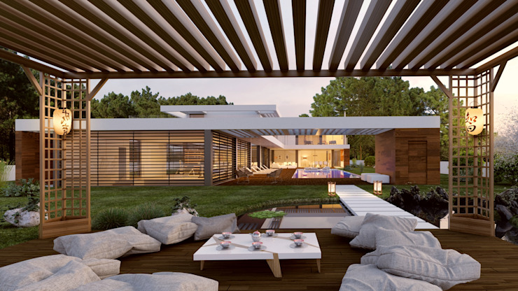 CASA SG1 - Moradia na Herdade da Aroeira - Projeto de Arquitetura - pergola lago por Traçado Regulador. Lda Moderno Madeira Acabamento em madeira