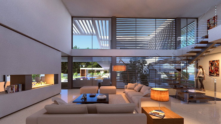 Living room by Traçado Regulador. Lda,
