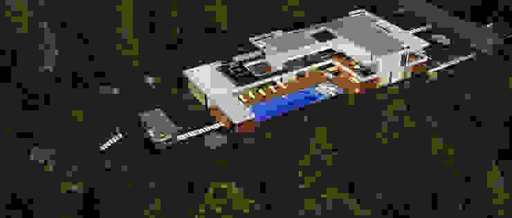 CASA SG1 - Moradia na Herdade da Aroeira - Projeto de Arquitetura - vista aerea por Traçado Regulador. Lda Moderno Madeira Acabamento em madeira
