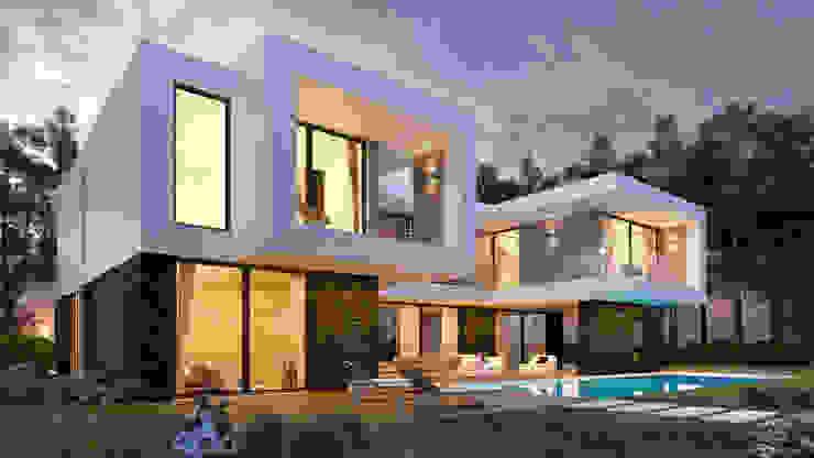 CASA PF1 - Moradia na Herdade da Aroeira - Projeto de Arquitetura por Traçado Regulador. Lda Moderno Pedra