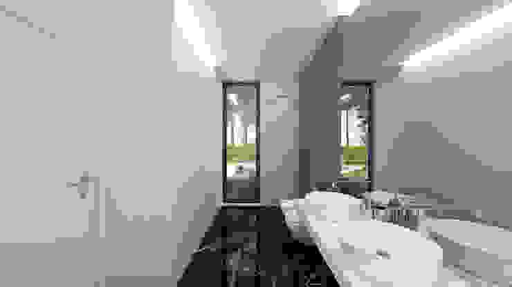 CASA PF1 - Moradia na Herdade da Aroeira - Projeto de Arquitetura - casa de banho Casas de banho modernas por Traçado Regulador. Lda Moderno Pedra