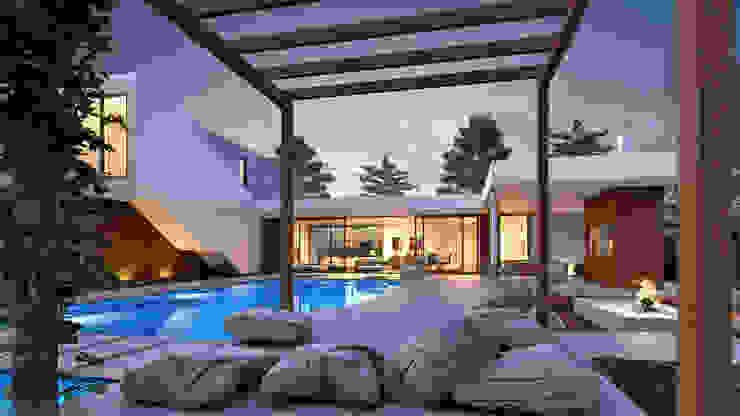 CASA MP1 - Moradia na Herdade da Aroeira - Projeto de Arquitetura - exterior piscina por Traçado Regulador. Lda Moderno Madeira Acabamento em madeira