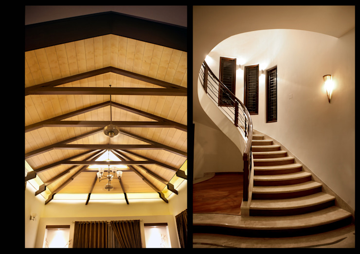 Stairs and False ceiling by Myriadhues Classic Wood Wood effect