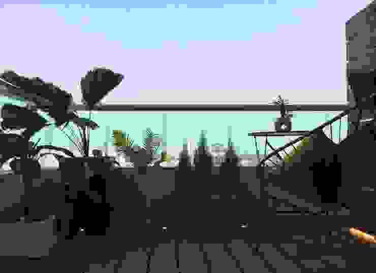 Resultado final del Departamento en Guadalajara Balcones y terrazas modernos de Citlali Villarreal Interiorismo & Diseño Moderno