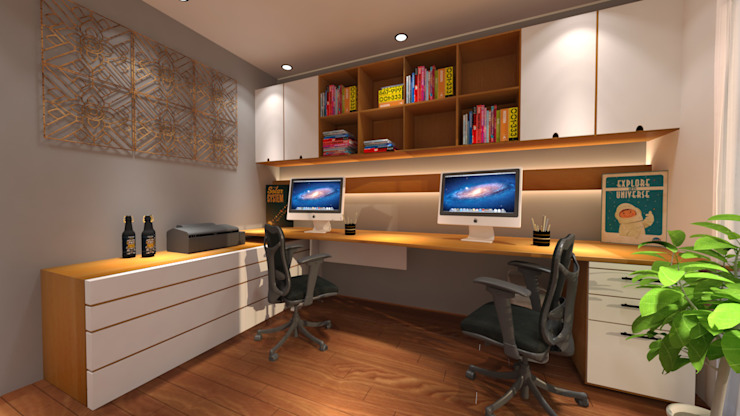 office decoration Industrial style study/office by Homedesignping Industrial Wood Wood effect