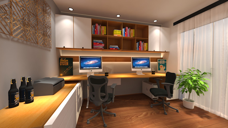 office Industrial style study/office by Homedesignping Industrial Wood Wood effect