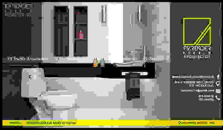 Detalle de encimera de Granito Negro Baños modernos de F9.studio Arquitectos Moderno Granito