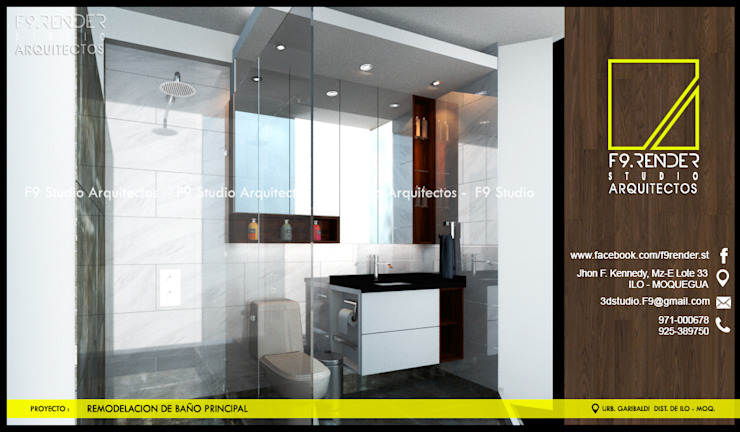 Vista Lateral de Baño Principal Baños modernos de F9.studio Arquitectos Moderno Granito