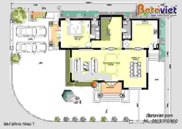 Mặt bằng tầng 1 mẫu biệt thự đẹp 3 tầng Tân cổ điển BT16007 bởi Công Ty CP Kiến Trúc và Xây Dựng Betaviet