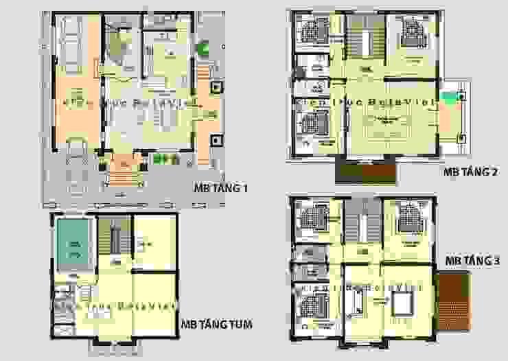 Mặt bằng tầng 1 mẫu nhà biệt thự đẹp 3 tầng Cổ điển BT13375 bởi Công Ty CP Kiến Trúc và Xây Dựng Betaviet