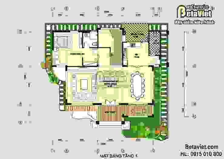 Mặt bằng tầng 1 mẫu biệt thự nhà đẹp 2 tầng Hiện đại BT14477 bởi Công Ty CP Kiến Trúc và Xây Dựng Betaviet