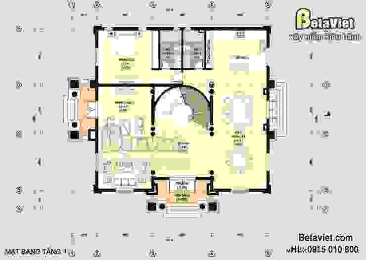 Mặt bằng tầng 1 mẫu nhà biệt thự đẹp 3 tầng Cổ điển BT15005 bởi Công Ty CP Kiến Trúc và Xây Dựng Betaviet