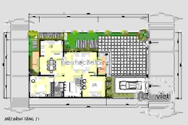 Mặt bằng tầng 1 mẫu thiết kế biệt thự 3 tầng Hiện đại KT16144 bởi Công Ty CP Kiến Trúc và Xây Dựng Betaviet