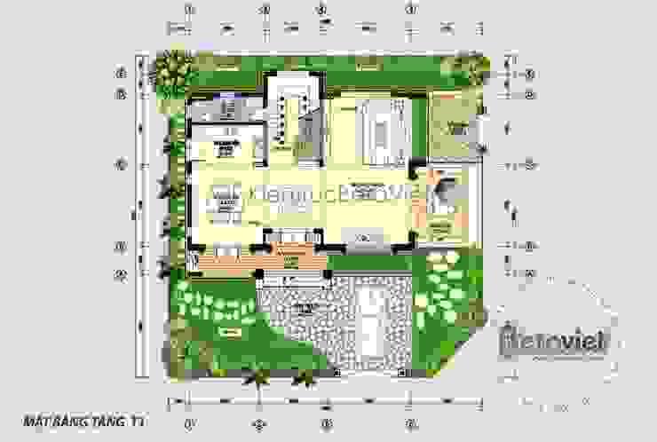 Mặt bằng tầng 1 mẫu thiết kế biệt thự 3 tầng Hiện đại đẹp KT16069 bởi Công Ty CP Kiến Trúc và Xây Dựng Betaviet