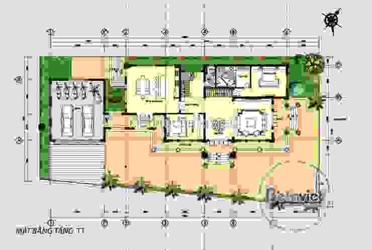Mặt bằng tầng 1 mẫu biệt thự đẹp 2 tầng Tân cổ điển KT17048 bởi Công Ty CP Kiến Trúc và Xây Dựng Betaviet