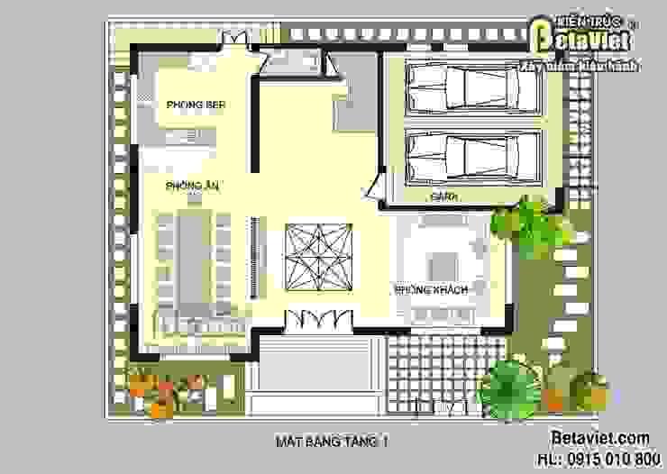 Mặt bằng tầng 1 mẫu nhà biệt thự đẹp 3 tầng Hiện đại BT14490 bởi Công Ty CP Kiến Trúc và Xây Dựng Betaviet