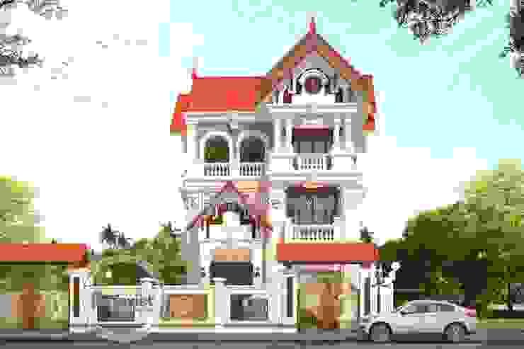Phối cảnh thiết kế biệt thự đẹp 3 tầng kiểu Pháp Cổ điển KT16065 bởi Công Ty CP Kiến Trúc và Xây Dựng Betaviet