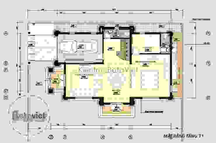 Mặt bằng tầng 1 thiết kế biệt thự đẹp 3 tầng kiểu Pháp Cổ điển KT16065 bởi Công Ty CP Kiến Trúc và Xây Dựng Betaviet