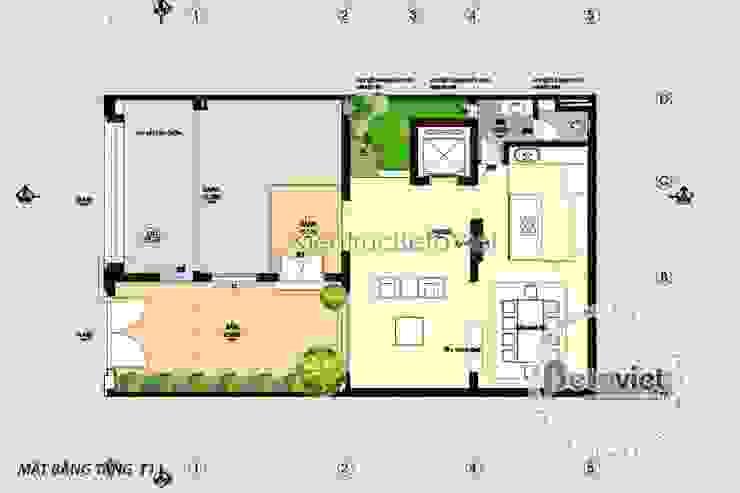 Mặt bằng tầng 1 mẫu thiết kế biệt thự Tân cổ điển 4 tầng KT16101 bởi Công Ty CP Kiến Trúc và Xây Dựng Betaviet