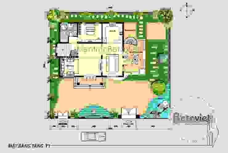 Mặt bằng tầng 1 mẫu thiết kế biệt thự 3 tầng Hiện đại KT16301 bởi Công Ty CP Kiến Trúc và Xây Dựng Betaviet